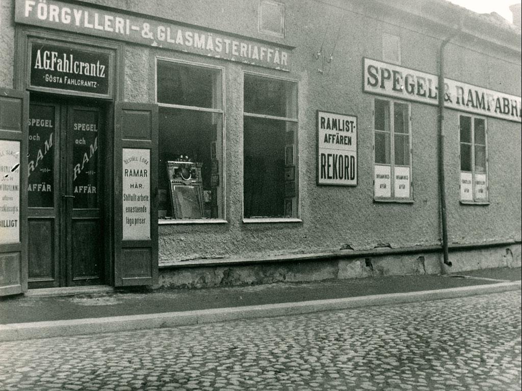 A.G. Fahlcrantz förgylleri och glasmästeri på Sturegatan 14 i Falun.